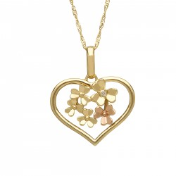 Love Shamrock Large Open Heart Pendant