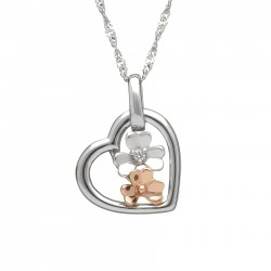 Love Shamrock Small Open Heart Pendant