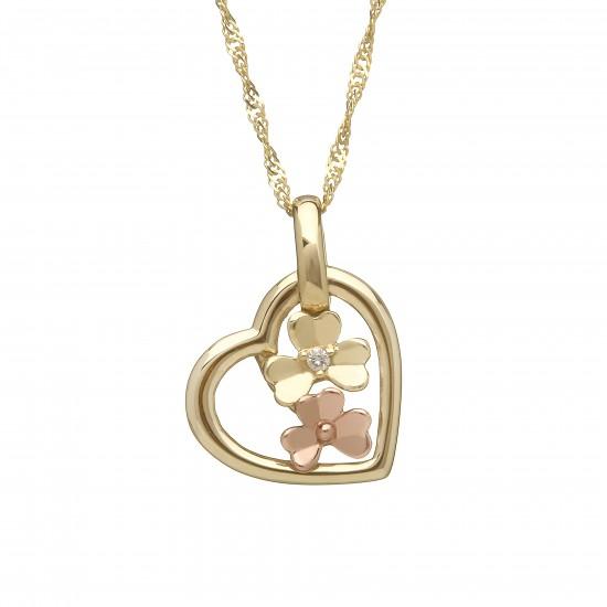 Love Shamrock Small Open Heart Pendant