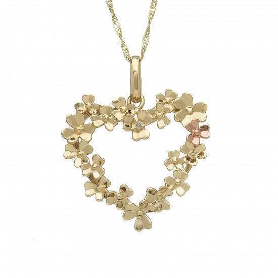 Love Shamrock Large Open Heart Pendant