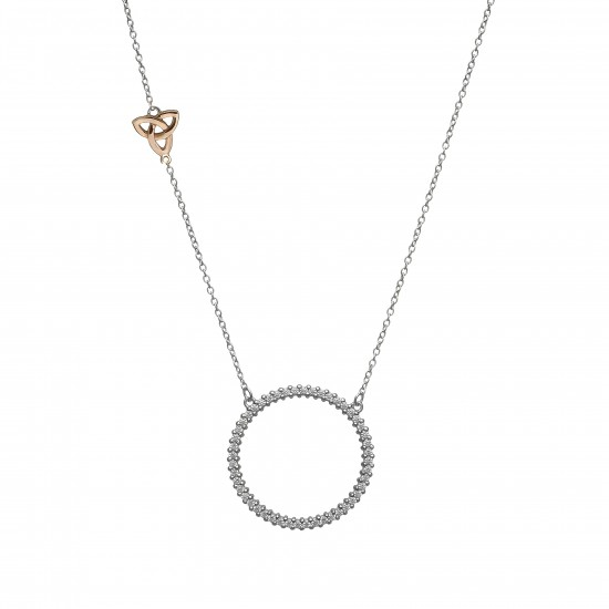 Silver Round Necklet With Rose Gold Trinity Knot