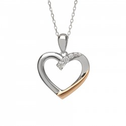 Silver and Rose Gold Heart Pendant