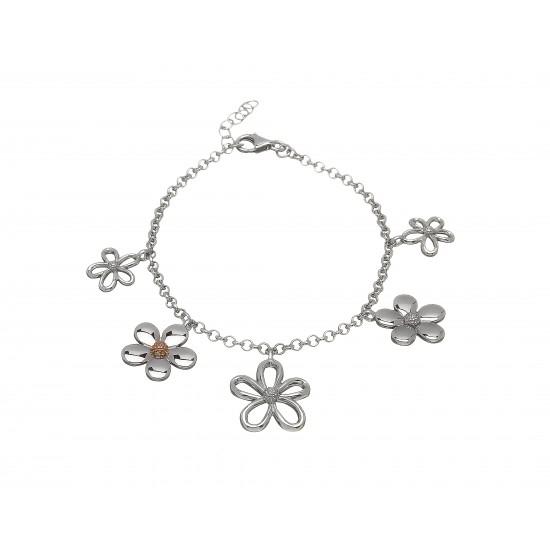 Silver and Rose Gold Multi Petal Bracelet