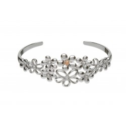 Silver and Rose Gold Multi Petal Cluster Bangle