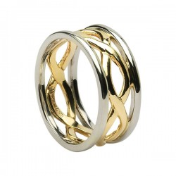Gold Inifinty Ring with White Gold Trim