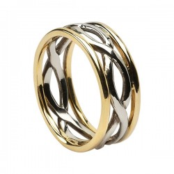 Gold Inifinty Ring with Yellow Gold Trim