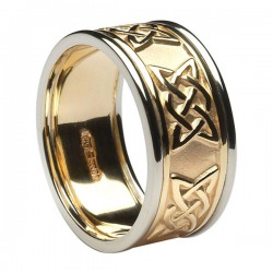 Gold Lovers Knot Ring with White Gold Trim