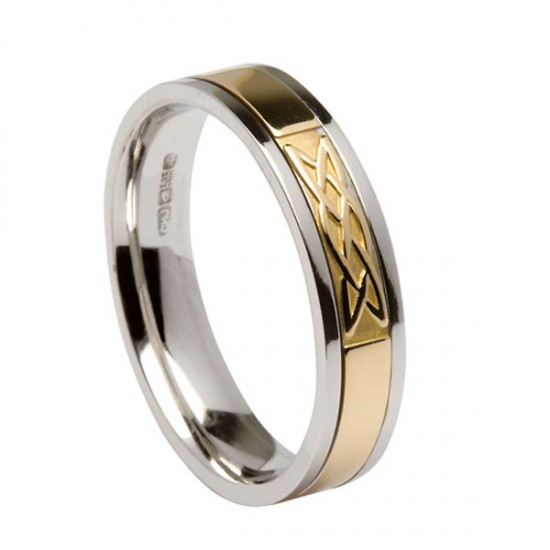 Silver Signature Ring with Gold Lovers Knot