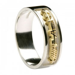 Sterling Silver with 18K Gold Ogham Script Ring