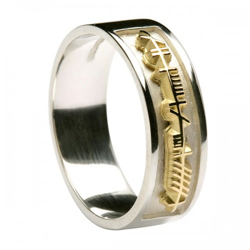 ring titanium wedding ogham flat profile in rings p the uk