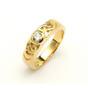 14K Celtic Solitaire Promise Ring Brilliant Cut Diamond Promise