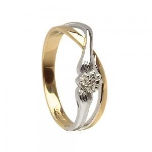 14K Gold Diamond Claddagh Ring
