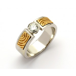 14K Yellow Spiral Solitaire Brilliant Cut Diamond Promise Ring