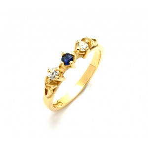 14K Yellow Trinity Trilogy Sapphire with Brilliant Cut Diamonds Promise Ring