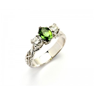 18K Trilogy Brilliant Cut Diamond and Chrome Tourmaline Promise Ring