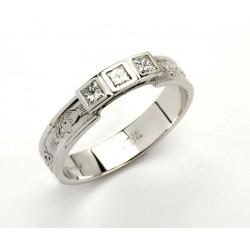 14K Claddagh Promise Ring with Princess Cut Diamonds