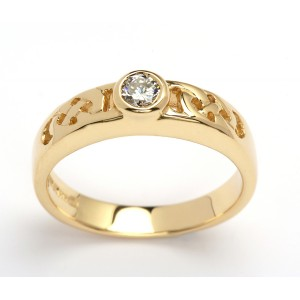 14K Celtic Solitaire Ring Brilliant Cut Diamond Promise