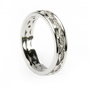 White Gold Celtic Weave Diamond Ring with White Gold Trim