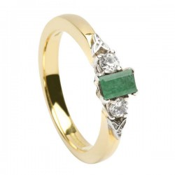 Gold Emerald and Diamond Promise Ring