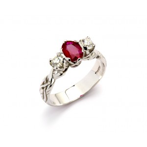 18K Trilogy Brilliant Cut Diamonds and Ruby Promise Ring