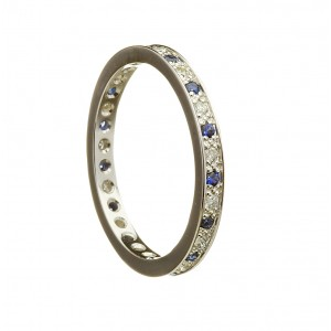 Gold Ladies Diamond and Sapphire Promise Ring