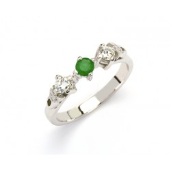 14K Trinity Trilogy Emerald with Brilliant Cut Diamonds Promise Ring
