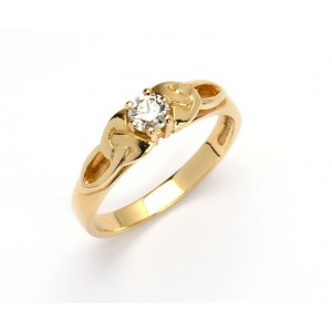 14K Trinity Solitaire Ring Brilliant Cut Diamond Promise