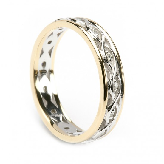 Gold Celtic Weave Diamond Ring with Gold Trim