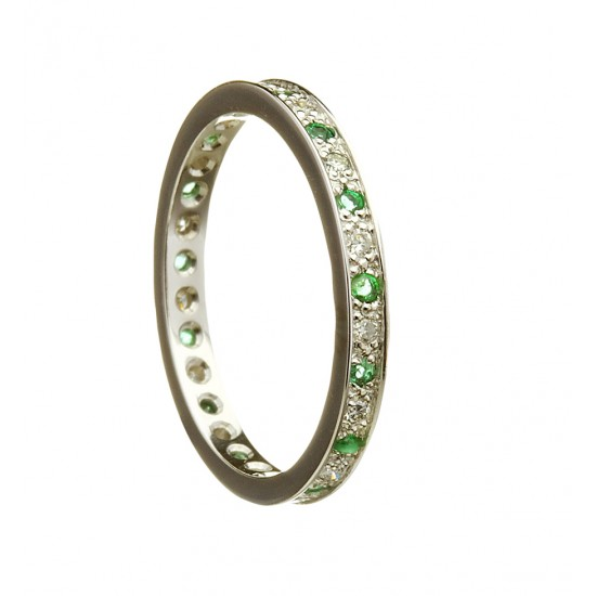 Gold Ladies Diamond and Emerald Promise Ring