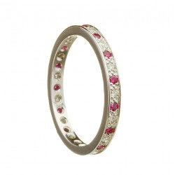 Gold Ladies Diamond and Ruby Promise Ring