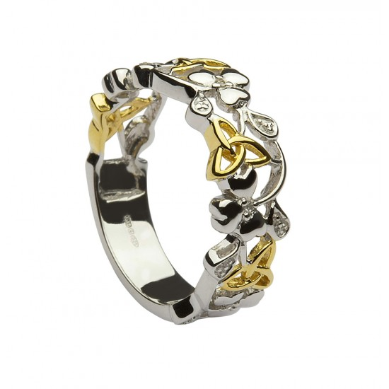 Silver and Gold Plated Shamrock and Trinity Diamond Ring