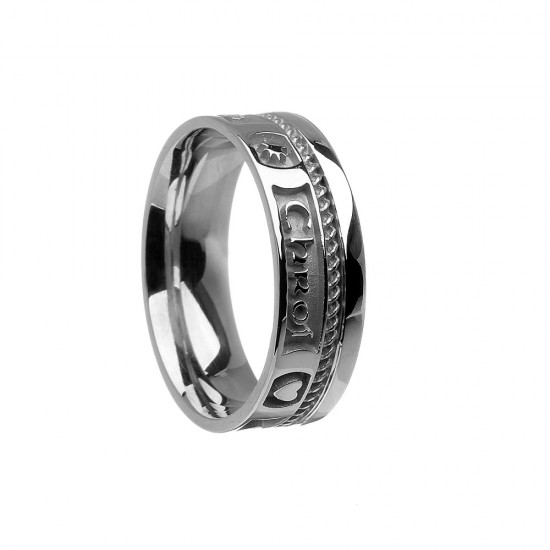 Sterling Silver Bright Love of My Heart Faith Wedding Ring