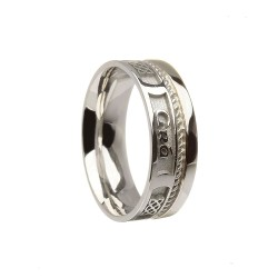 Sterling Silver Love Forever Faith Wedding Ring