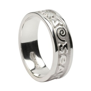Silver Bright Love of My Heart Wedding Ring