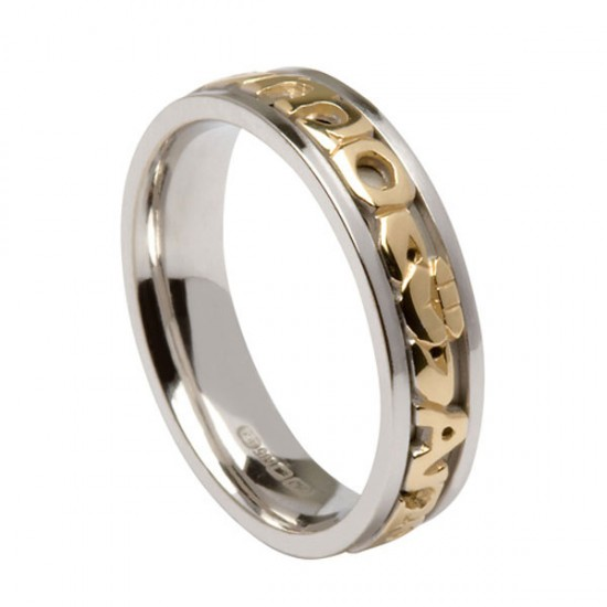 Silver Signature with Gold My Soul Mate Text Ring