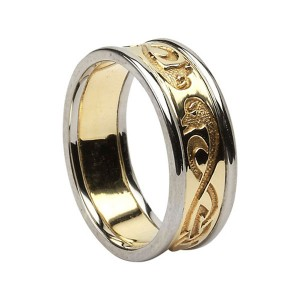 Yellow Gold Le Cheile - Together - Celtic Wedding Ring with White Gold Trim