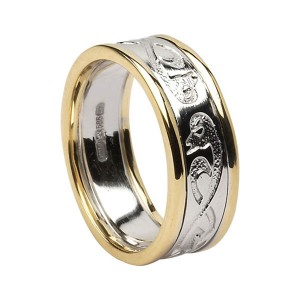 White Gold Le Cheile - Together - Celtic Wedding Ring with Yellow Gold Trim