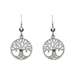 Sterling Silver Tree of Life Drop Earrings with CZ Stone
