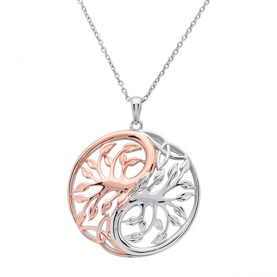 Silver Circular Rose Gold Plated Ying Yang Two Tone Tree of Life Pendant
