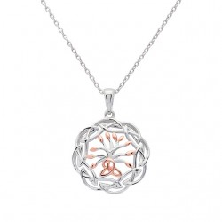 Silver Circular Tree of Life Pendant in Celtic Surround