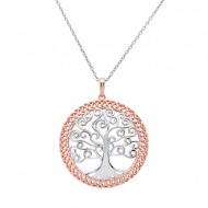 Silver Rose Gold Plated Two Tone Tree of Life Pendant