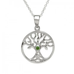 Sterling Silver Tree of Life Pendant with CZ Stone