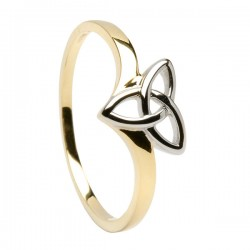14K Gold Two Tone Trinity Knot Ring