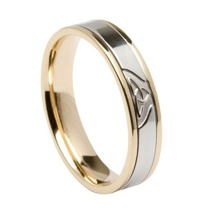 Gold Signature with White Gold Trinity Knot Center