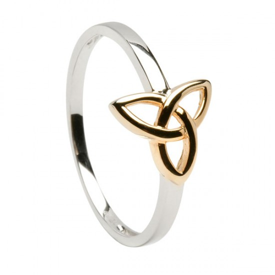 Gold Two Tone Trinity Knot Ring