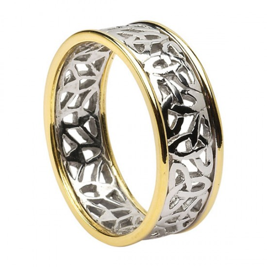 White Gold Trinity Knot Filagree with Yellow Gold Trim