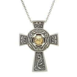 Large Silver Oxidised Celtic Cross with 18K Gold Bead