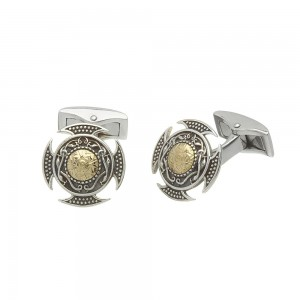 Silver Oxidised Celtic Cuff-Links with 18K Gold Bead