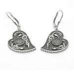 Silver Oxidised Celtic Heart Earrings