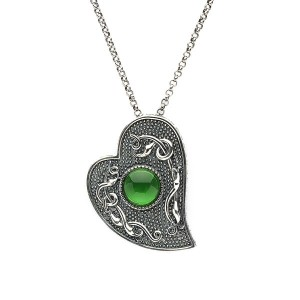 Silver Oxidised Celtic Heart Pendant with Green Glass Stone